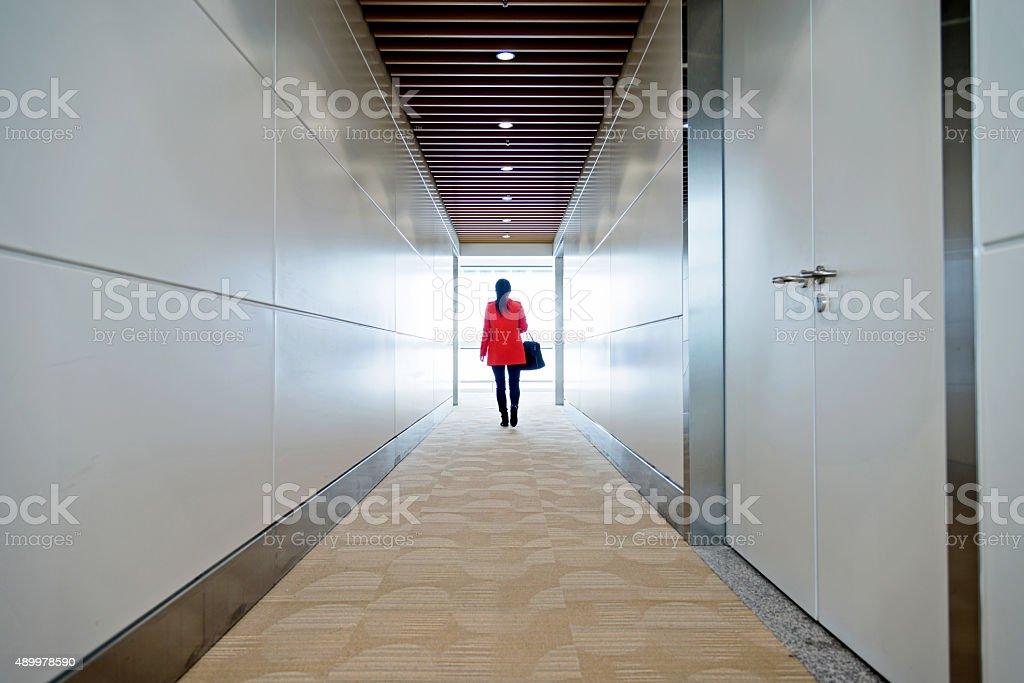 walking through tunnel stock photo