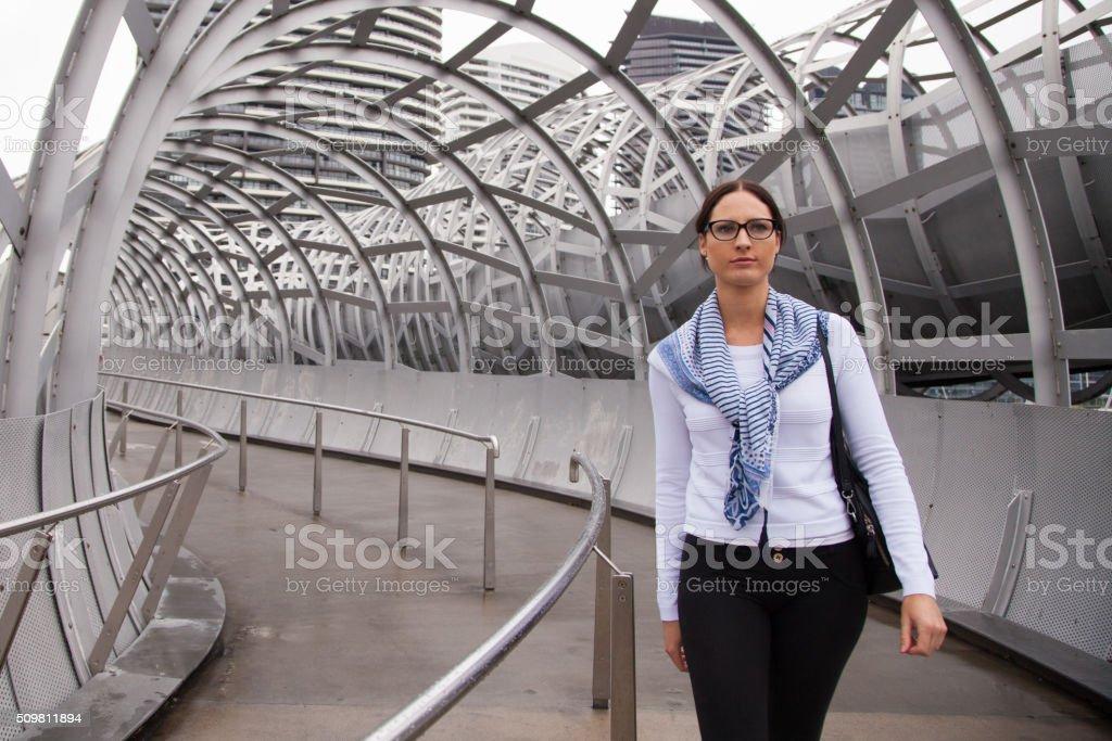 Walking Through Webb Bridge stock photo