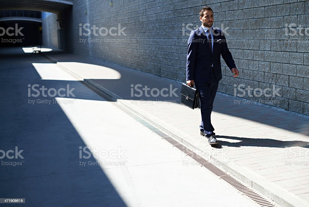 Walking to business meeting royalty-free stock photo