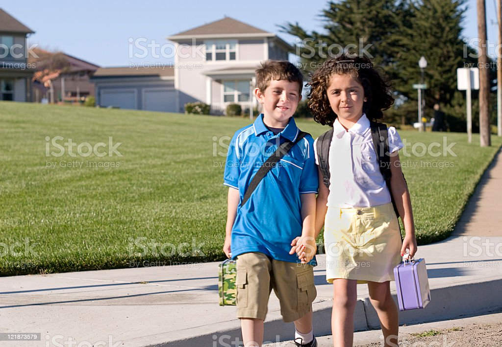 Walking to School royalty-free stock photo
