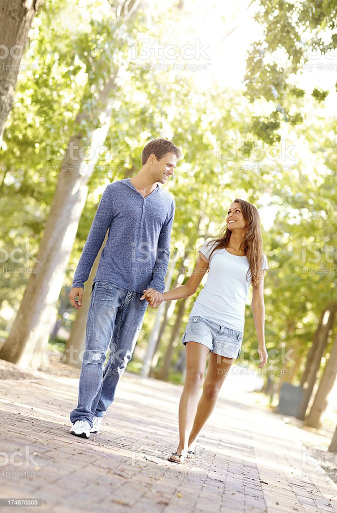 Walking together in the park royalty-free stock photo