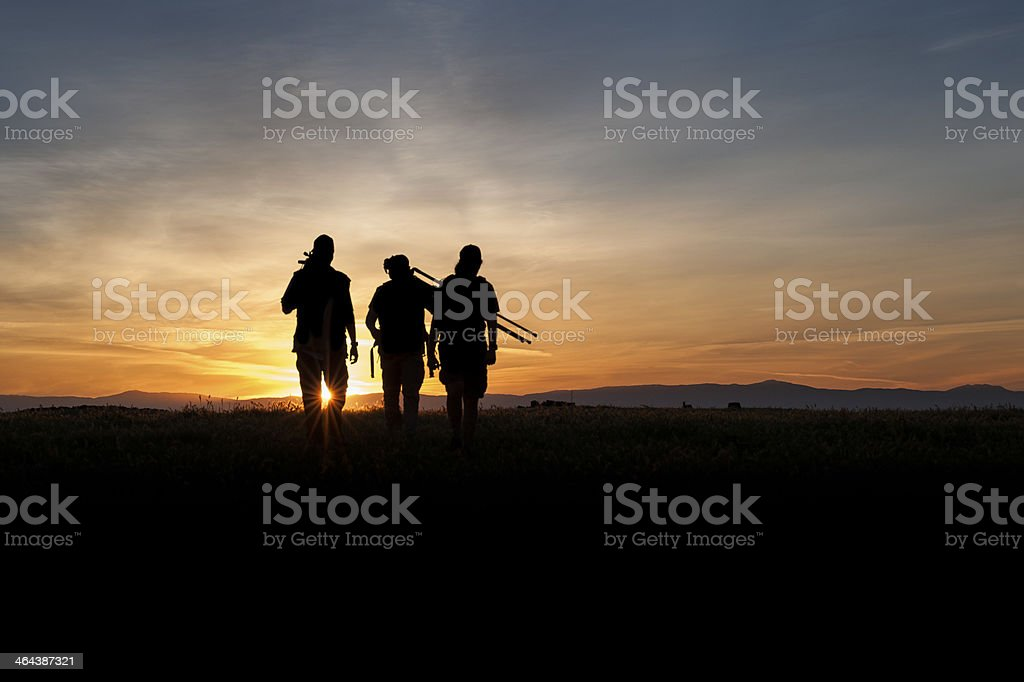 Walking toward Sunset royalty-free stock photo