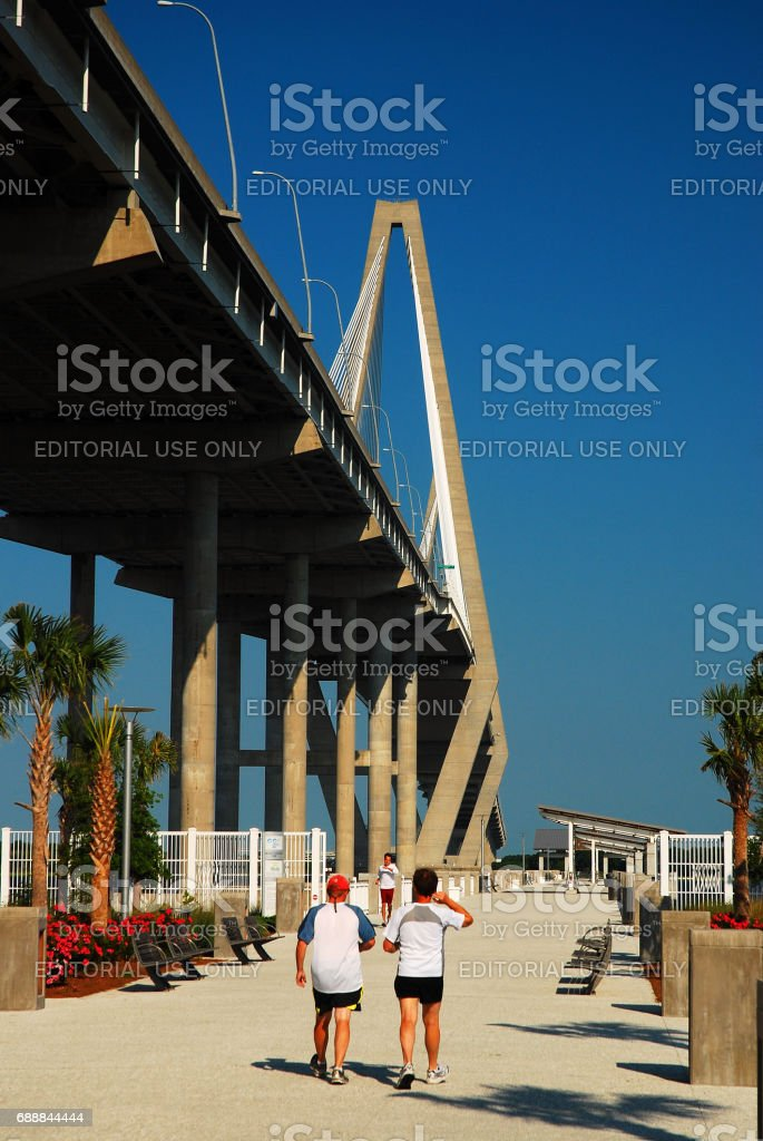 Walking towards the Ravenel Bridge stock photo