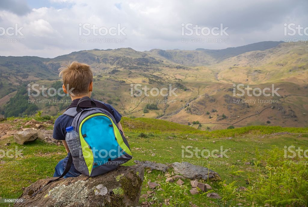 Walking up Helm Crag, The Lake District, Cumbria, England stock photo