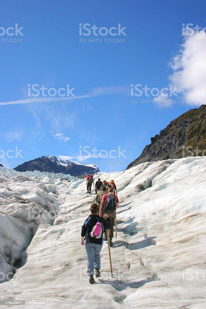 Walking Up the Glacier stock photo