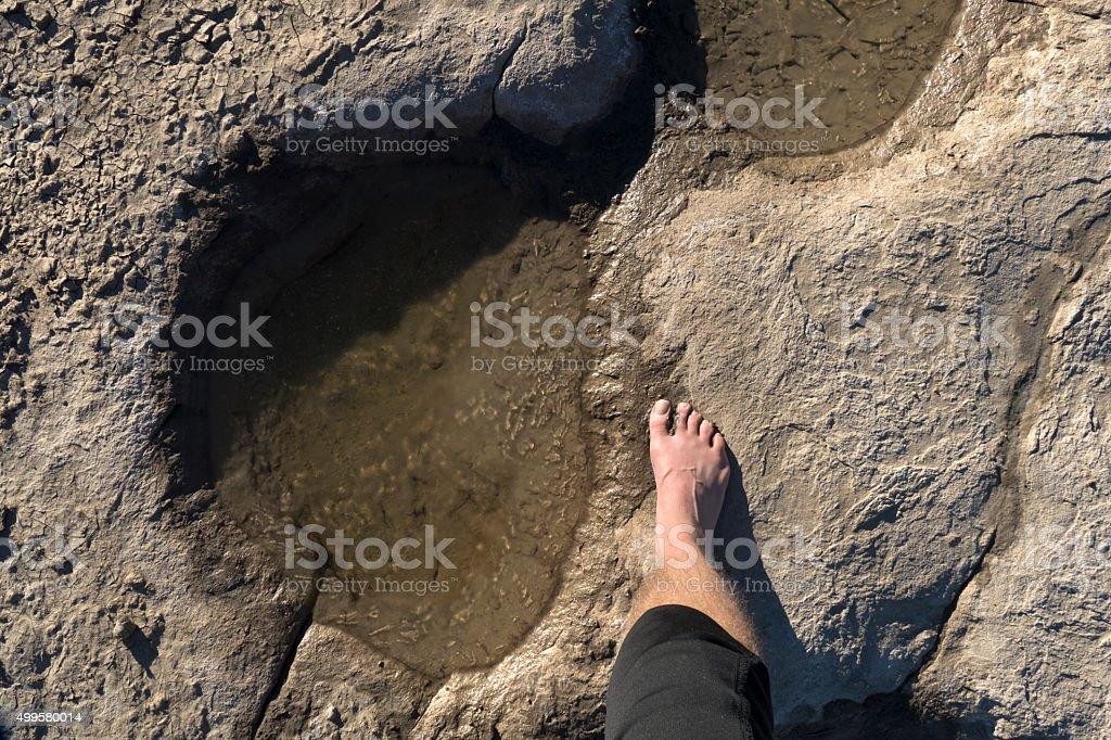 Walking with Colorado dinosaur barefoot Apatosaurus Purgatoire River tracksite stock photo
