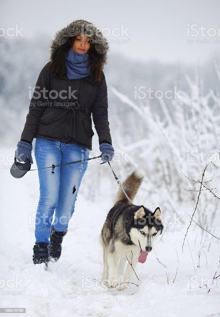 Walking With Dog royalty-free stock photo