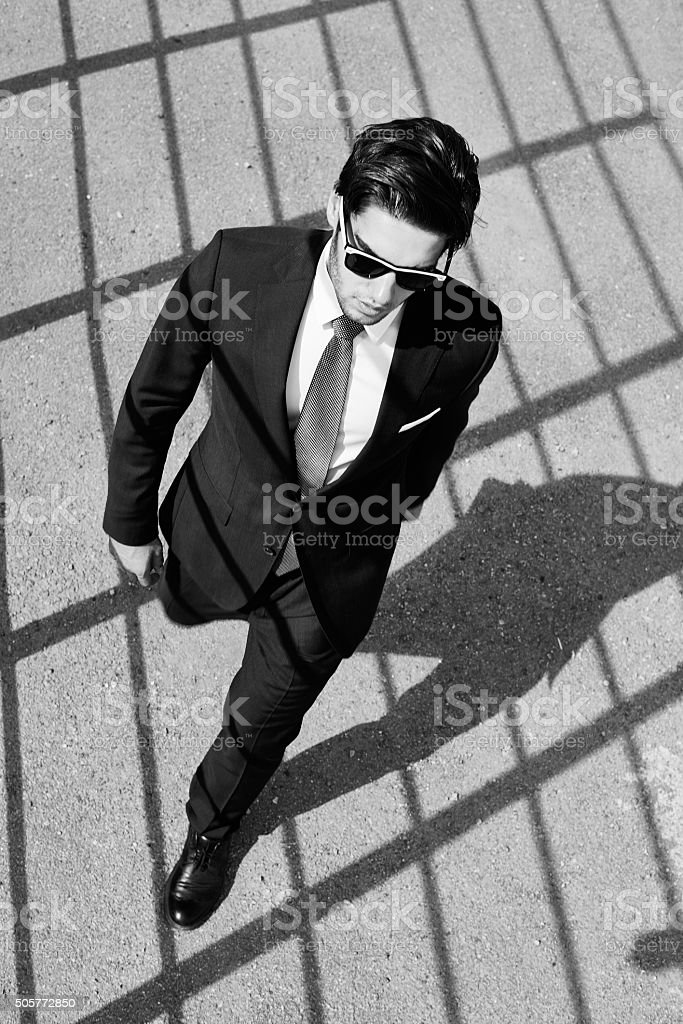 Walking with firm tread stock photo