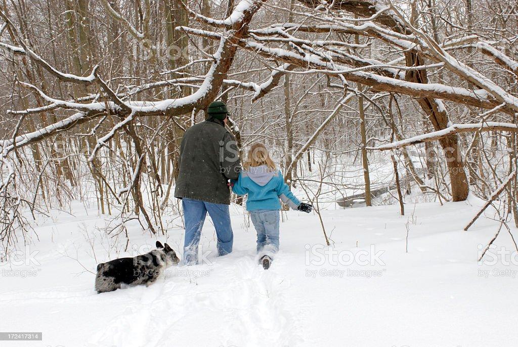 Walking with Grandpa stock photo