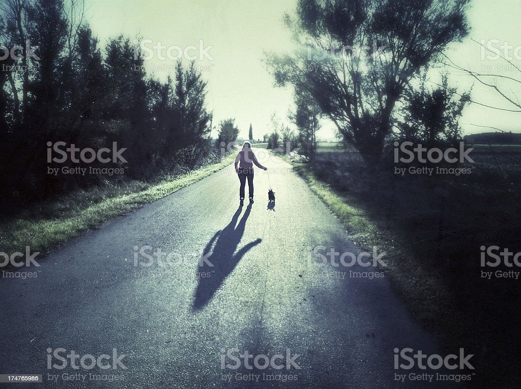 Walking with her dog royalty-free stock photo