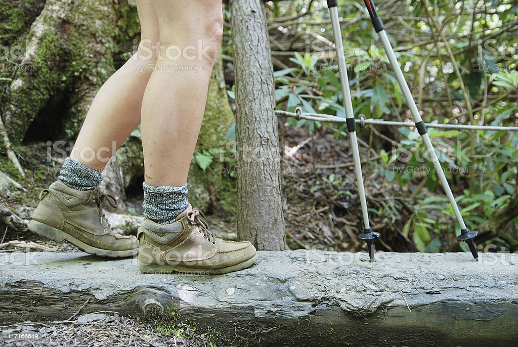 Walking with hiking poles on log bridge stock photo