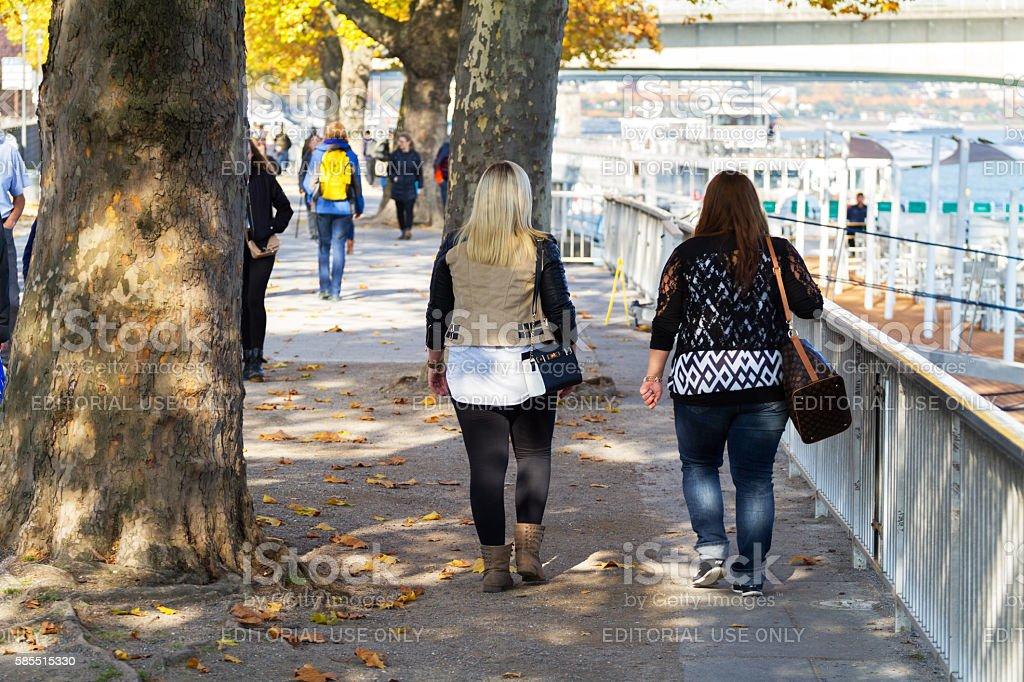 Walking women near Rhine stock photo
