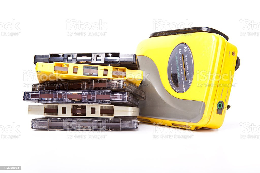 Walkman and cassettes stock photo