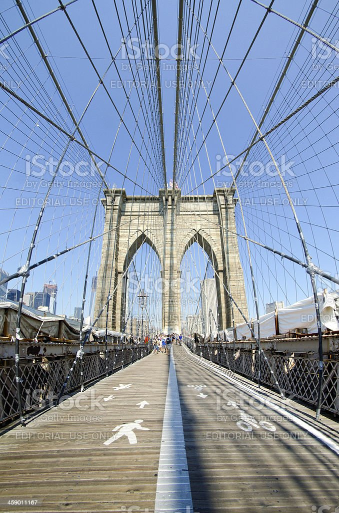 Walkway along Brooklyn Bridge in New York City royalty-free stock photo