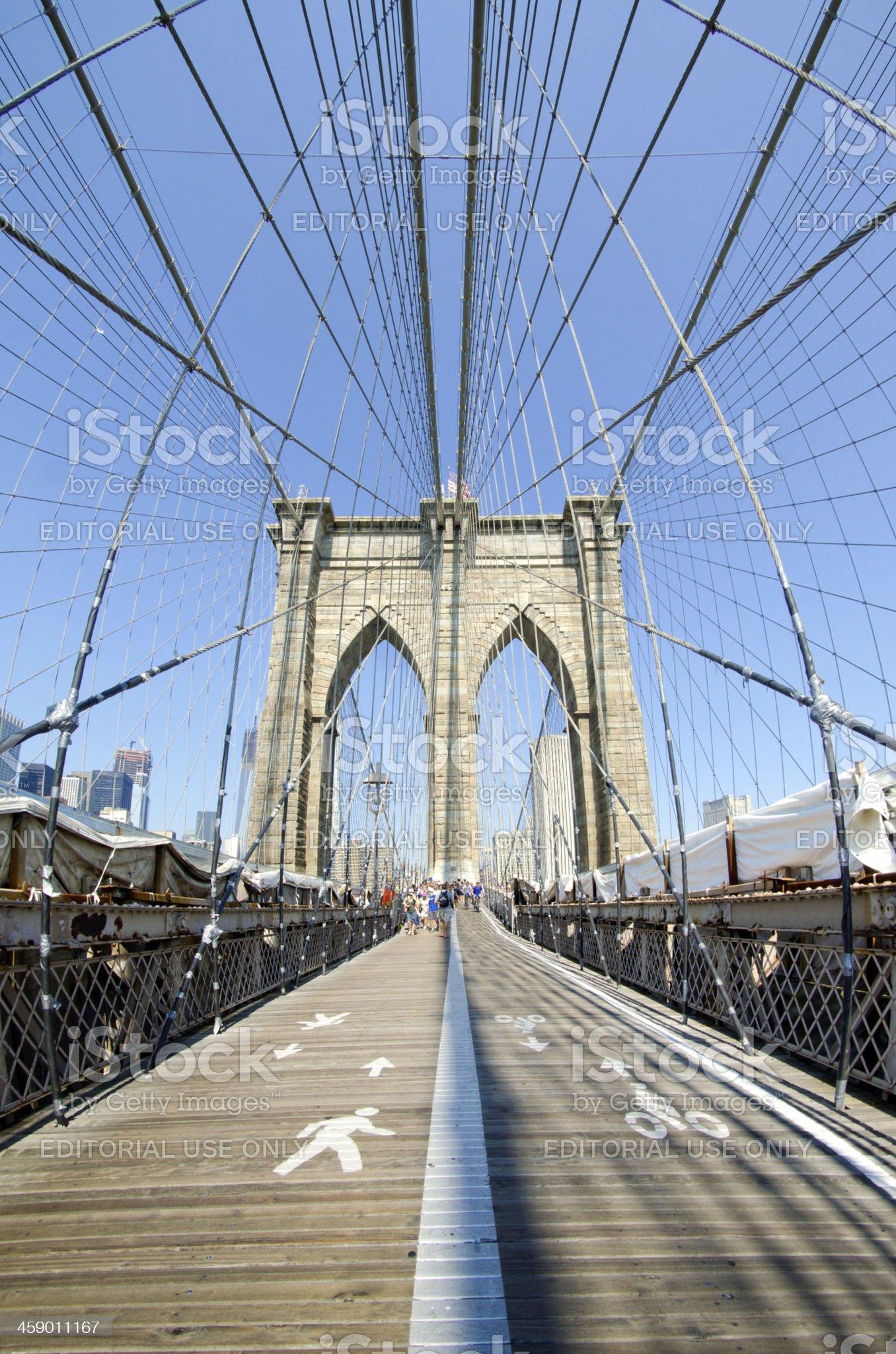 Walkway along Brooklyn Bridge in New York City royalty-free stock photo