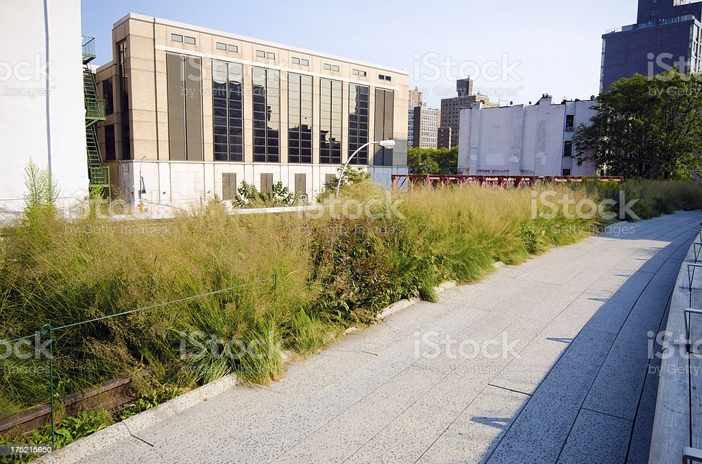 Walkway along the High Line in New York City stock photo