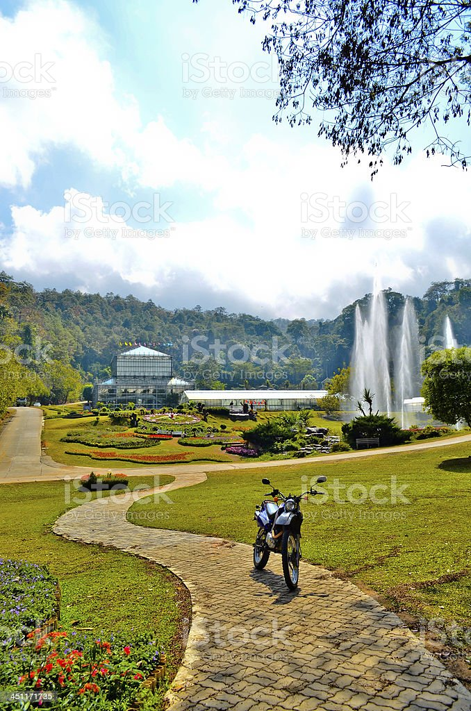 Walkway and Fountain In The Park royalty-free stock photo