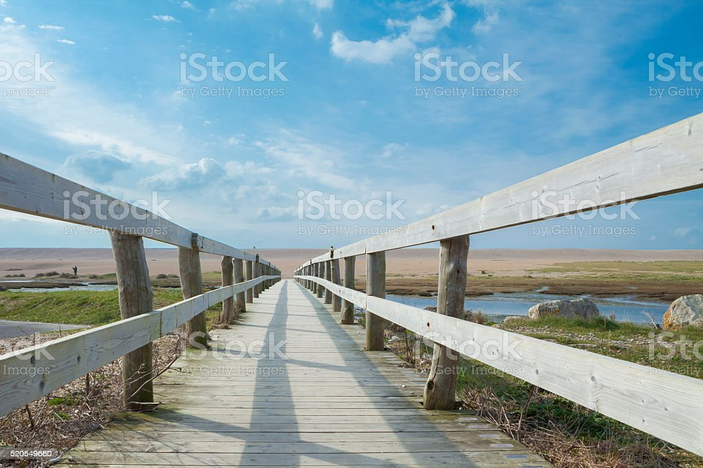 Walkway at Chesil Beach stock photo