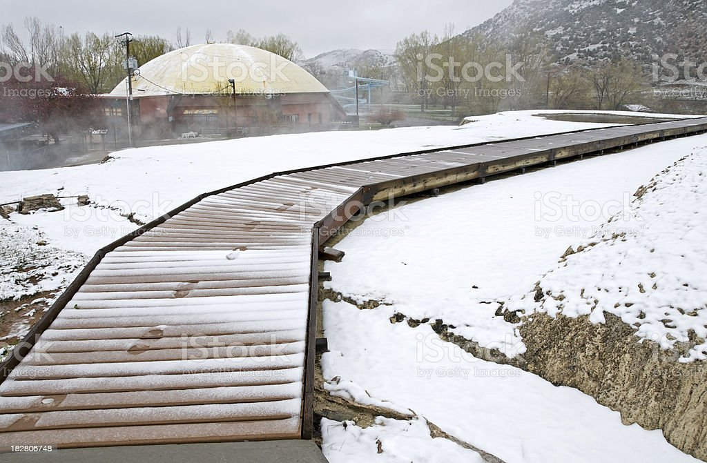Walkway at hot springs in Wyoming stock photo