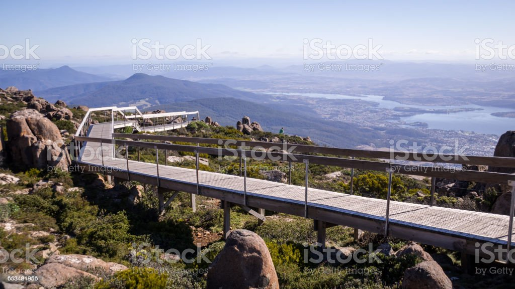 Walkway at Mt Wellington lookout in Hobart, Tasmania stock photo