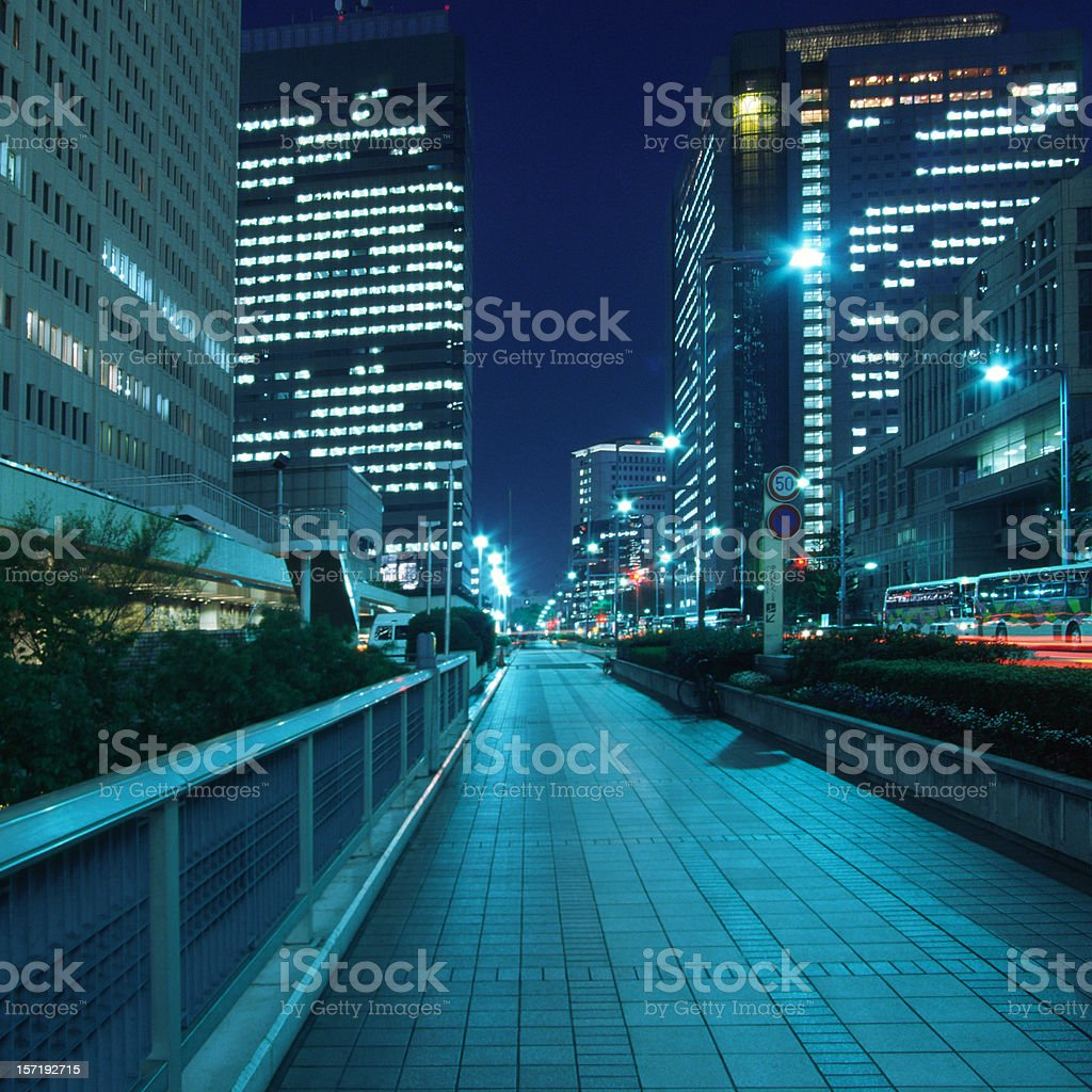 Walkway at night royalty-free stock photo