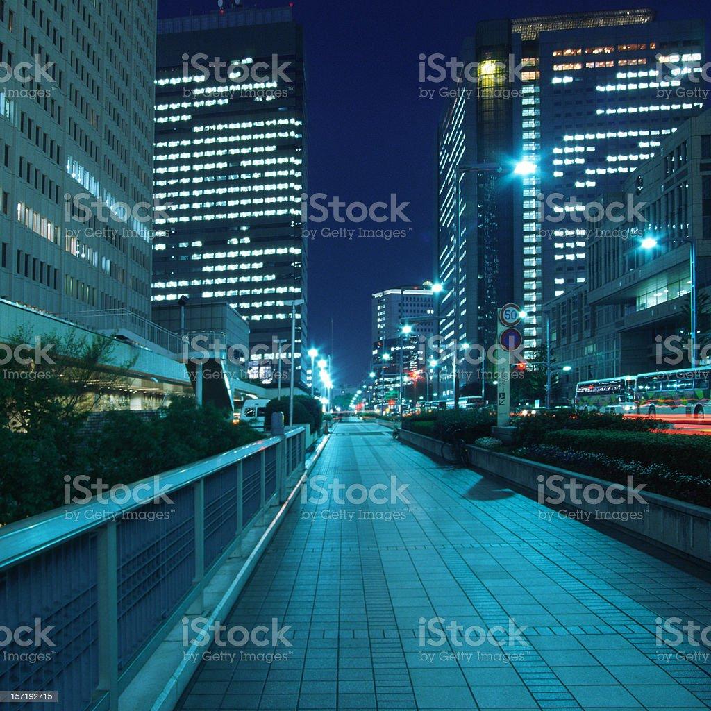 Walkway at night stock photo