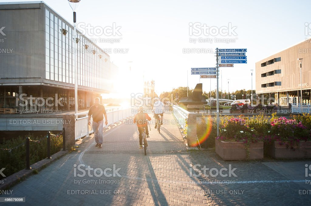 Walkway at the theater Oulu, Finland stock photo