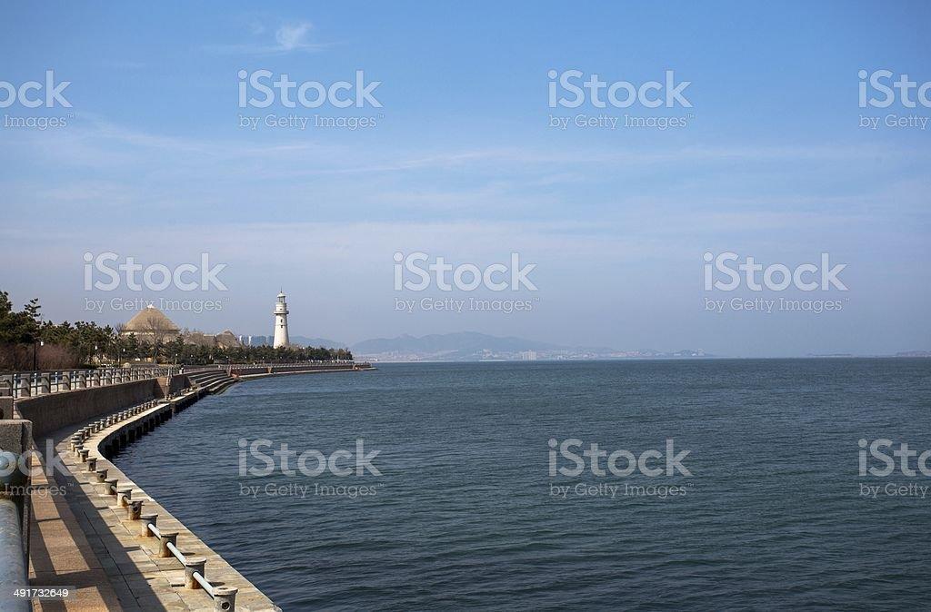 walkway beside the sea royalty-free stock photo