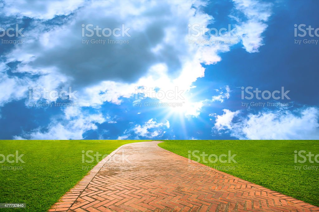 walkway between green fields and blue sky in backgrounds royalty-free stock photo