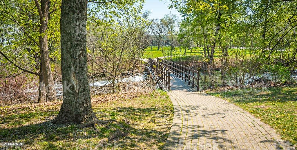 Walkway bridge. Woods along Niagara Parkway trail. May springtime day. stock photo