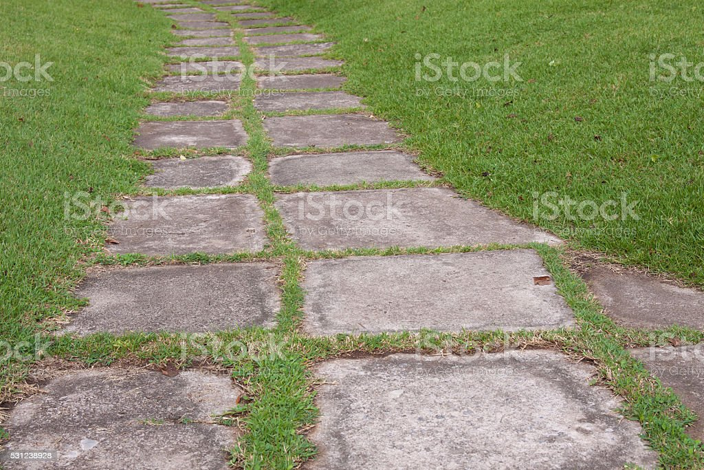Walkway cement plate on green grass royalty-free stock photo