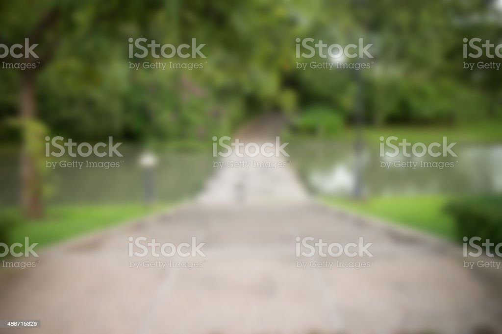 Walkway for cross the pond gaussian blur stock photo