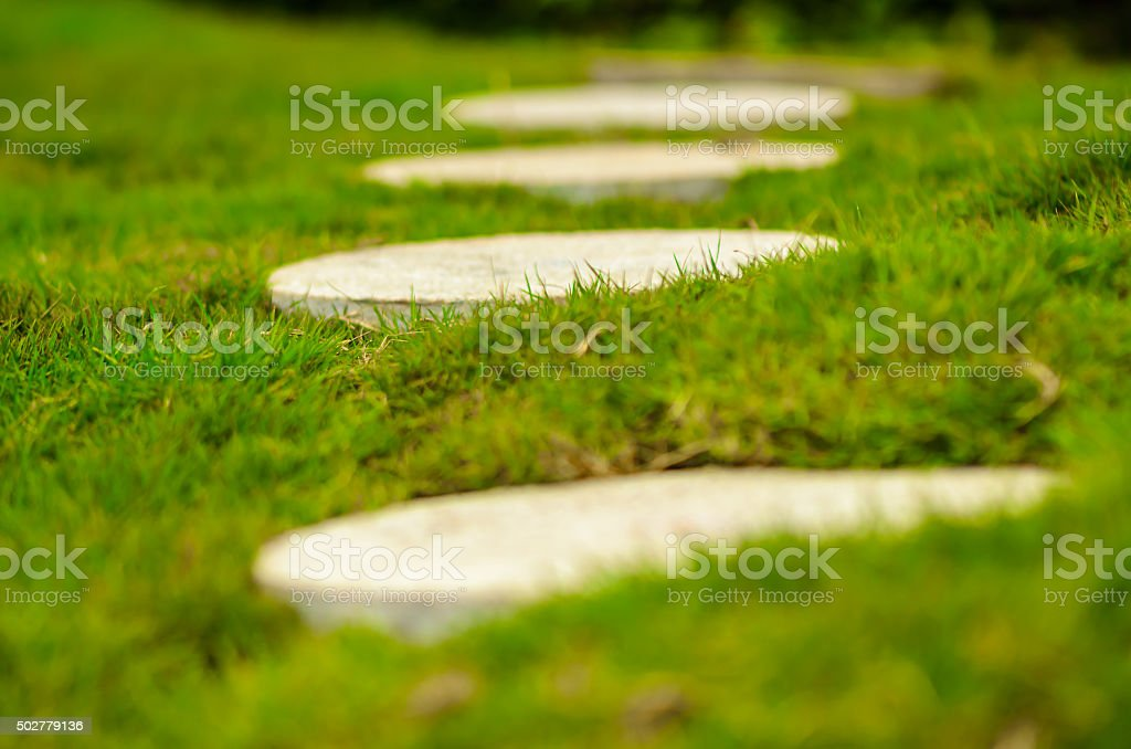 Walkway in a garden - The Way Forward stock photo