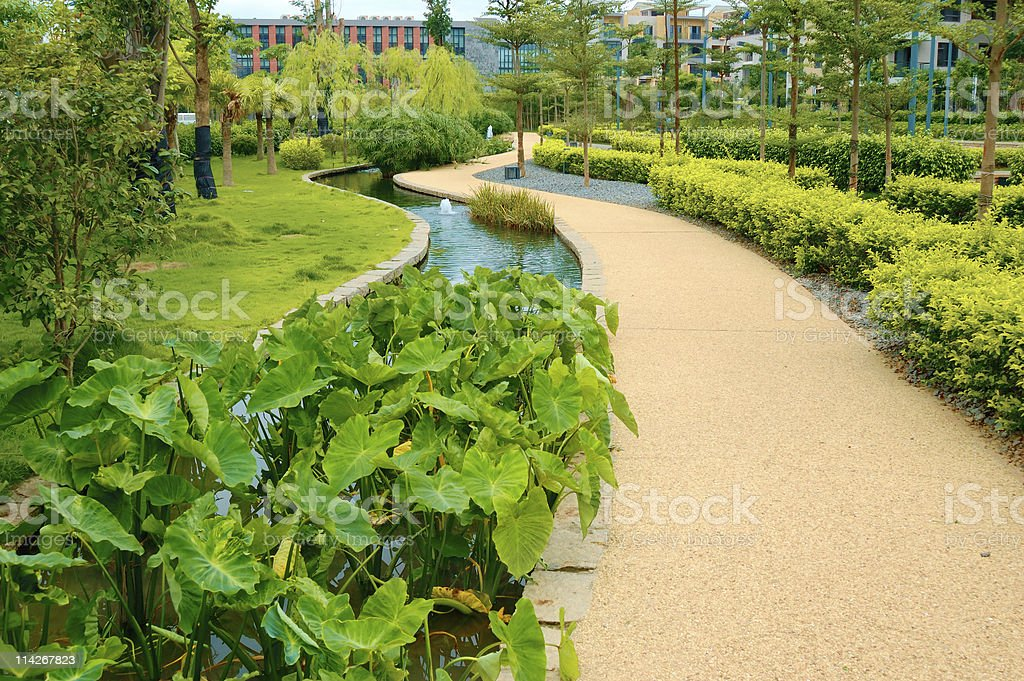 Walkway in a park stock photo