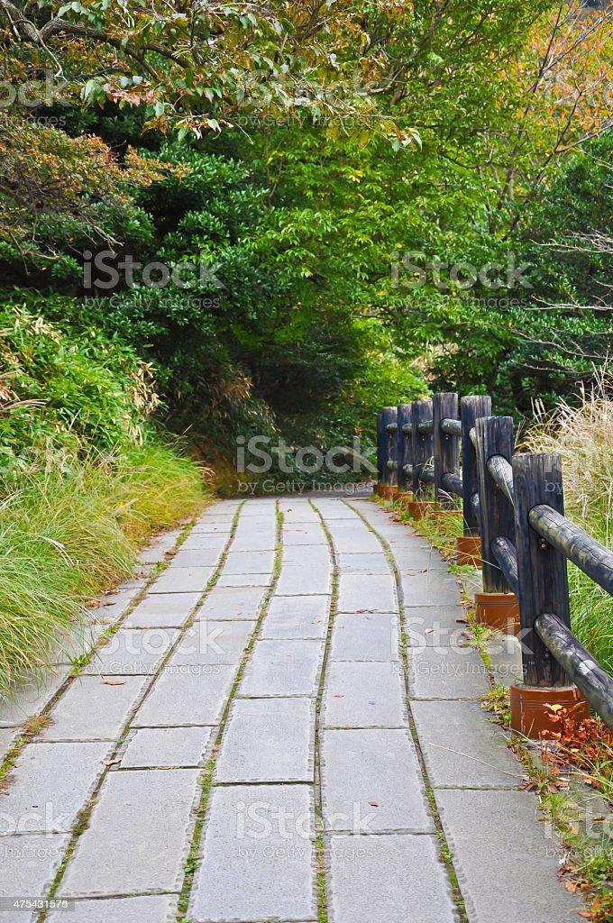 Walkway in at Unzen mountain at Obama, Japan stock photo