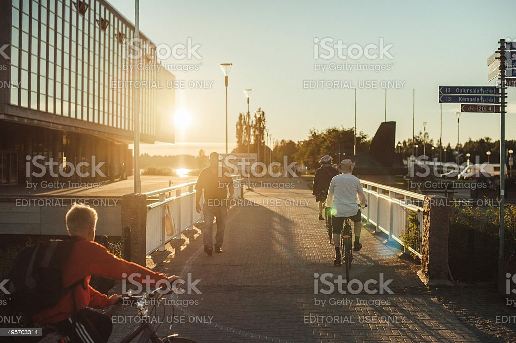 Walkway in city centre in Oulu Finland stock photo