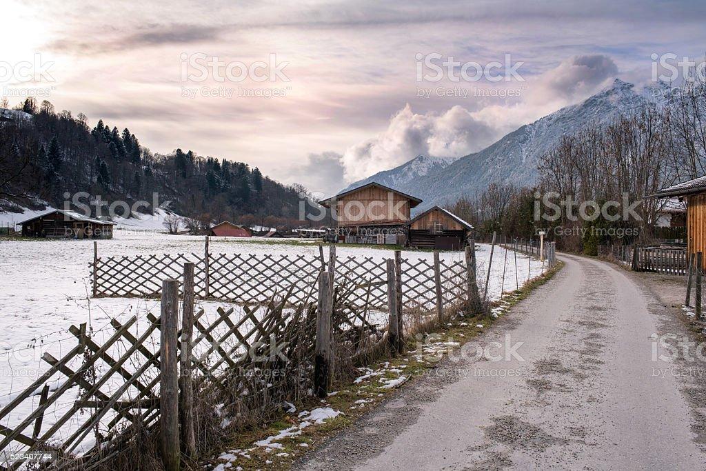 Walkway in Loisach Valley, Garmisch-Partenkirchen stock photo