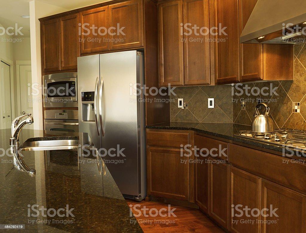 Walkway in to Modern Kitchen stock photo