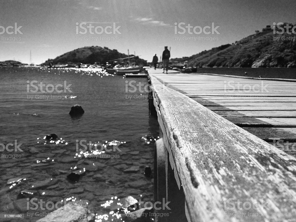 Walkway into the sea stock photo