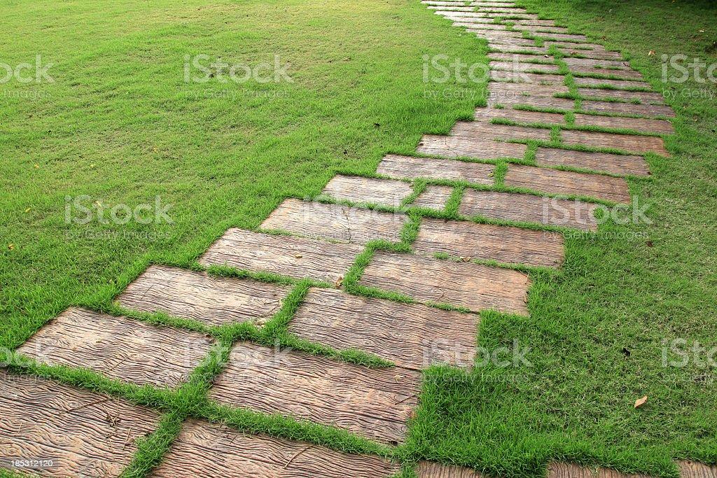 Walkway on grass royalty-free stock photo