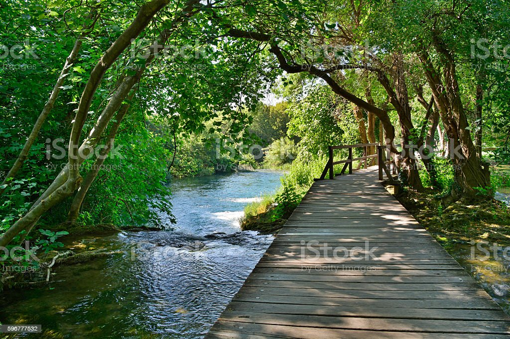 Walkway on the Skradinski Buk Trail stock photo