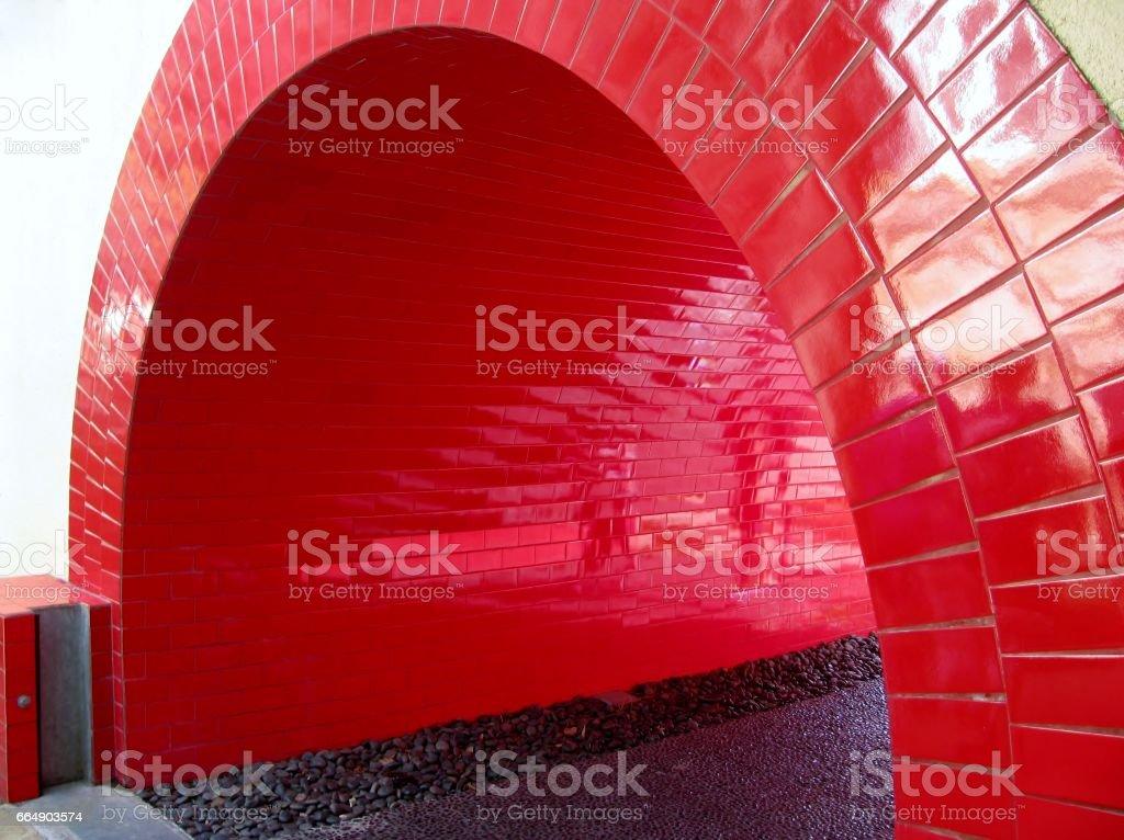 Walkway red tunnel stock photo