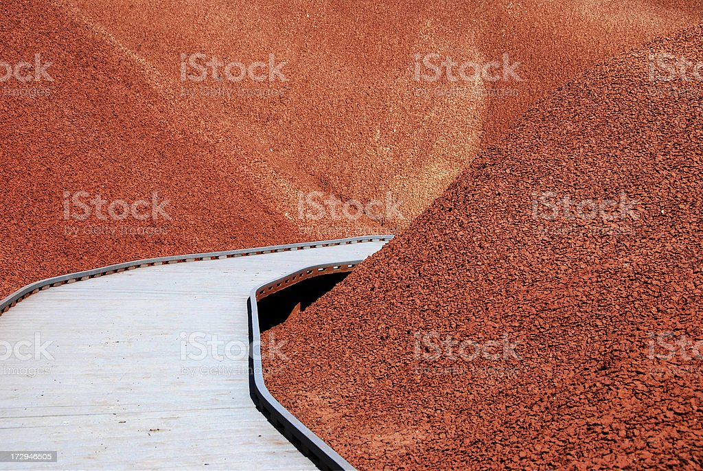 Walkway through Painted Hills stock photo