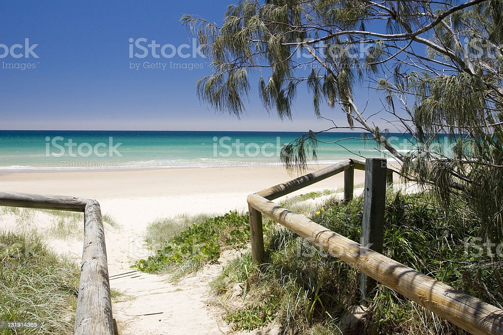 Walkway to beach with log rails to guide stock photo