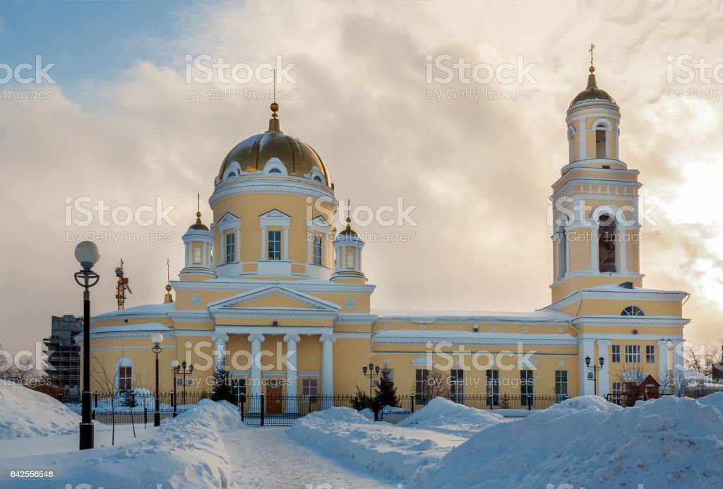 Walkway to Church of St. Nicholas in Ekaterinburg, Russia. Front stock photo
