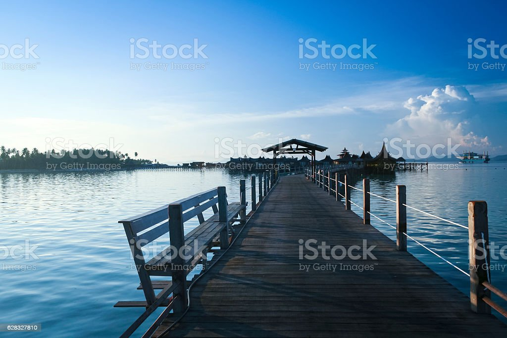 walkway to resort hotel mabul island sabah stock photo