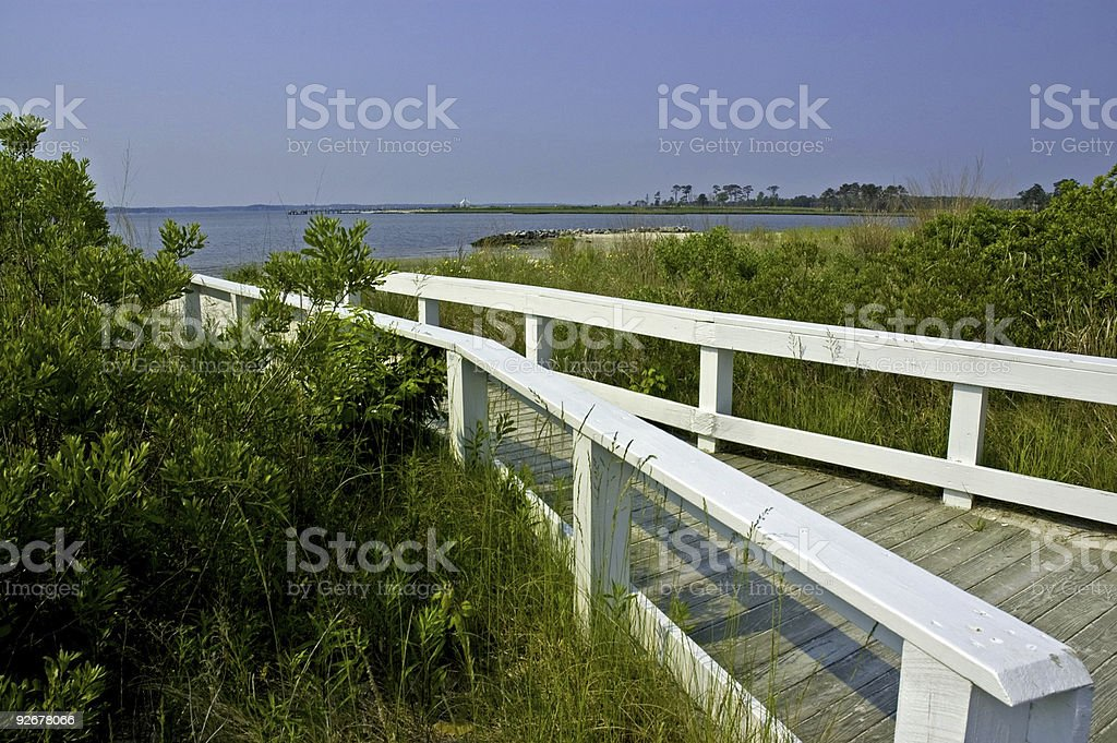 Walkway to the Bay in Delaware royalty-free stock photo