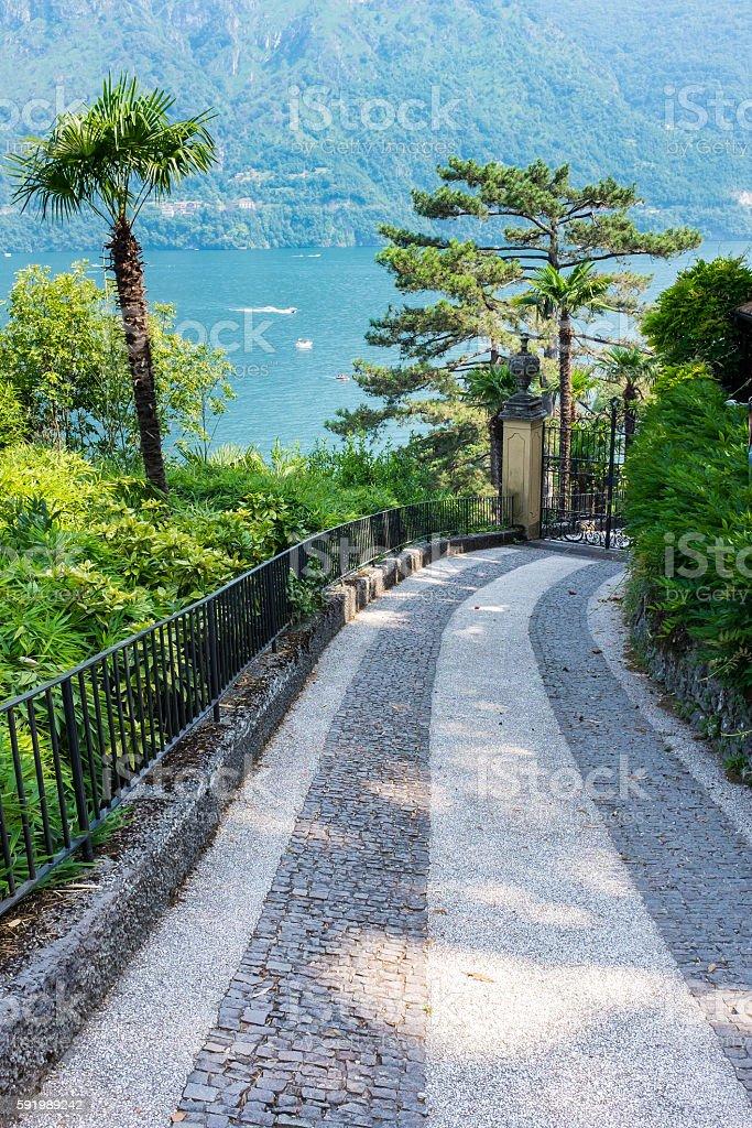 Walkway to The Villa del Balbianello stock photo
