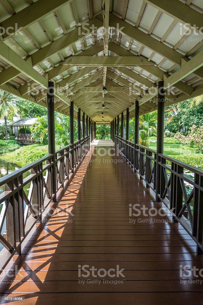 Walkway under Roof stock photo