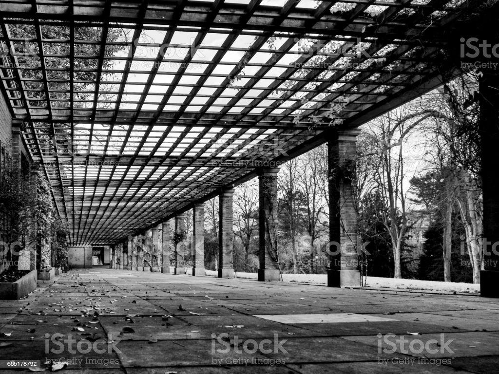 Walkway vanishing point stock photo
